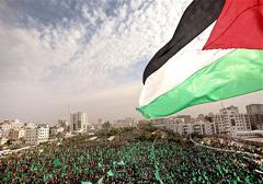 Manifestacja zwolenników Hamasu w Strefie Gazy
