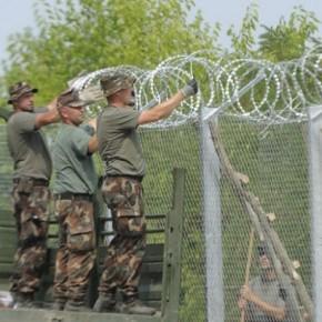 Węgierscy sadownicy przekazują owoce żołnierzom budującym ogrodzenie graniczne